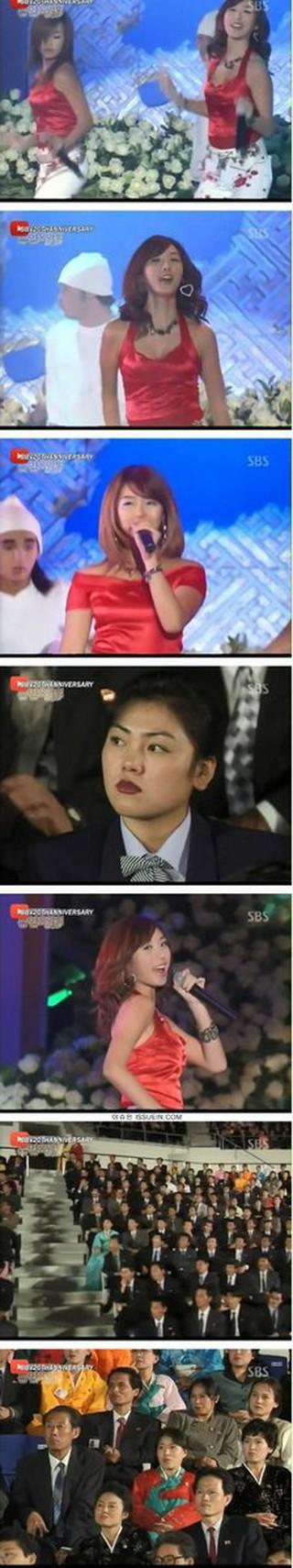 """韓国の第一世代アイドルグループBaby V.O.X のステージを観賞した北朝鮮人たちの反応… """"冷たい表情""""に注目。"""