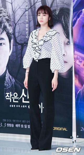 女優キム・オクビン、ソウル市内で行われた新ドラマ「小さな神の子どもたち」の記者懇談会に出席。