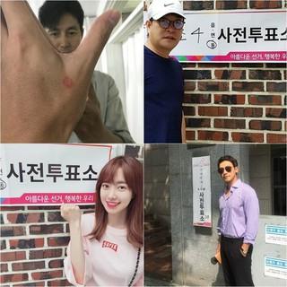 俳優チョン・ウソン から歌手Rain(ピ) まで、第7回全国同時地方選挙の期日前投票の証拠写真を続々、公開。