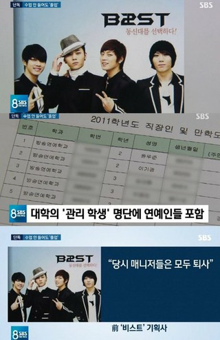 BEAST チャン・ヒョンスン、Highlight ユン・ドゥジュン、ヨン・ジュンヒョン、イ・ギグァンの4人に「特恵」疑惑が報道。●本日の韓国のSBS「8時ニュース」によると、4