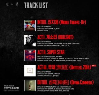 ヤン・ヒョンソク、G-DRAGON(BIGBANG) のニューアルバム「クォン・ジヨン」トラックリスト公開。