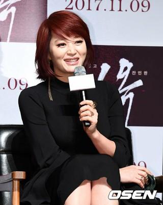 女優キム・ヘス、主演映画「ミオク」の制作報告会に参加中。
