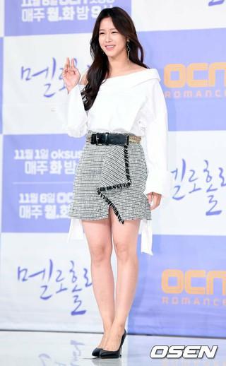 女優キョン・スジン、OCNドラマ「メロホリック」制作発表会に出席。30日午後、ソウル永登浦区TIMES SQUAREアモリスホール。