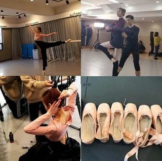 女優ワン・ジウォン、バレエ練習風景。
