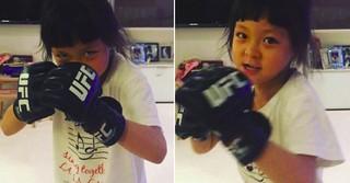 秋山成勲の愛娘サランちゃん、パパ顔負けのファイティングポーズを見せる!