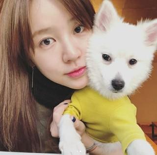 女優ユン・ウネ・・・一時保護中のワンちゃんとの2ショット!応援と関心を願う