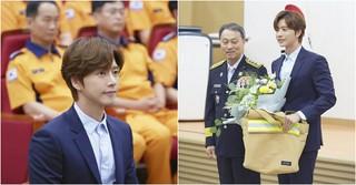俳優パク・ヘジン、消防官への支援が評価され、消防庁・名誉消防官に任命される!